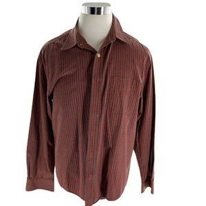 Old Navy Mens Red Plaid Casual Button Up Shirt L